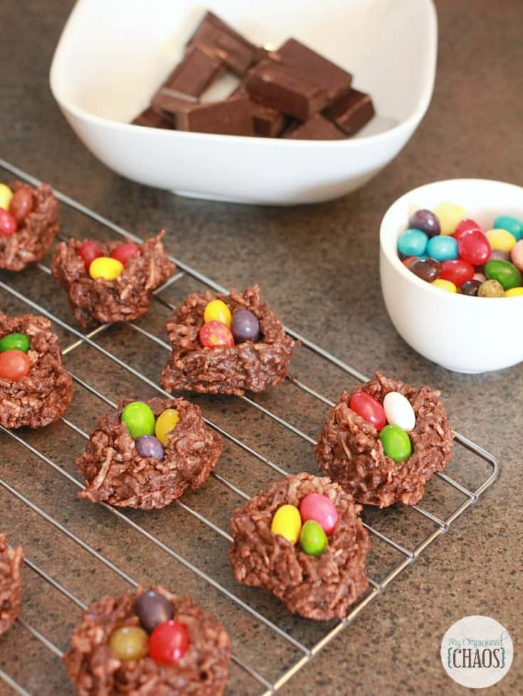 chocolate macaroon nests easter treat