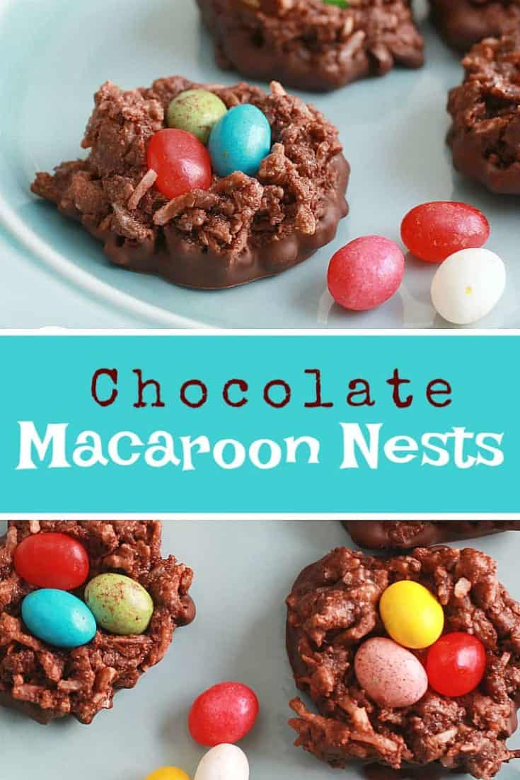 Chocolate Macaroon Nests are an easy and simple delicious Easter treat that includes coconut and chocolate, topped with festive jelly beans for eggs. Cute! #macaroonnests #chocolatemacaroon