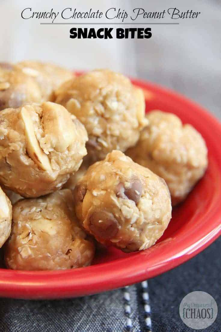 Crunchy Chocolate Chip Peanut Butter Snack Bites recipe, easy snack recipe that takes only minutes to make. Great for taking on the go for those busy days. #peanutbuttersnack #snackbites