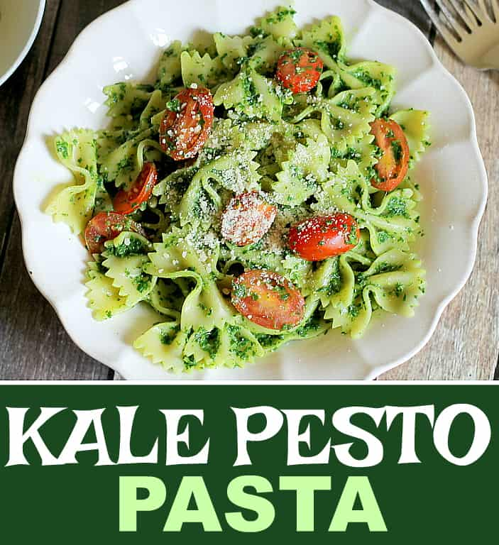 Healthy Kale Pesto Pasta is a dish that hides the fact that it's good for you. The pasta and cheese are welcoming, and the cheery tomatoes divine!