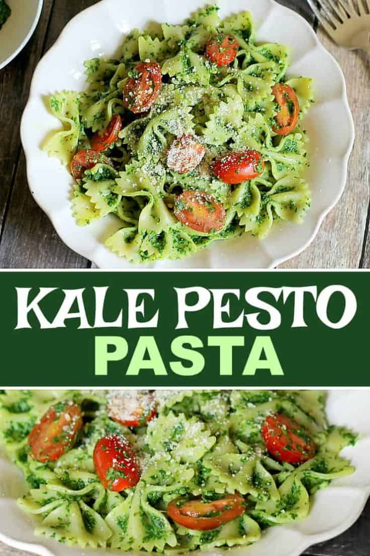 Healthy Kale Pesto Pasta is a dish that hides the fact that it's good for you. The pasta and cheese are welcoming, and the cheery tomatoes divine! #Kale #pesto #pasta #healthy #recipe