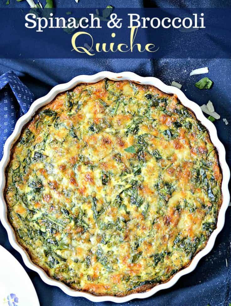 This one-dish easy brunch recipe for Spinach and Broccoli Quiche is packed full of veggies and is so healthy. At the same time, delicious with every bite! #quiche #breakfast #breakfastrecipe