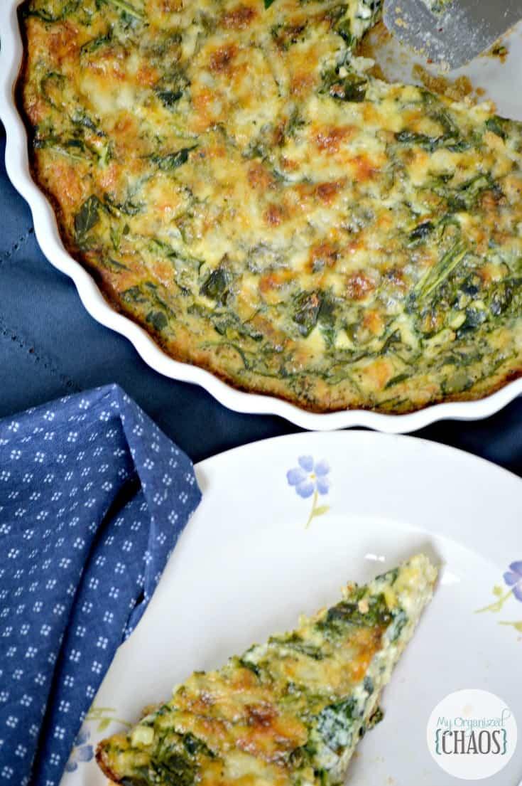 Spinach and Broccoli Quiche recipe