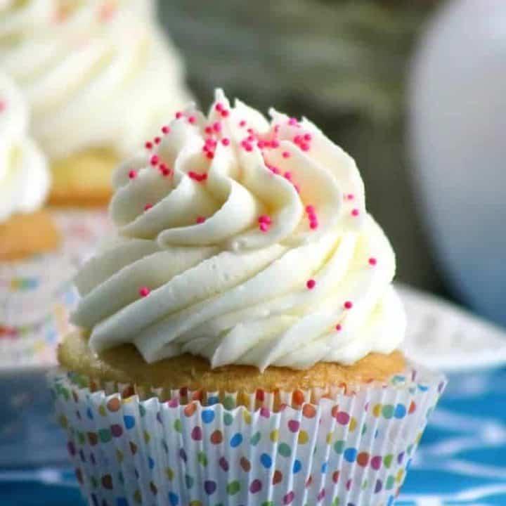 classic vanilla cupcake with vanilla frosting