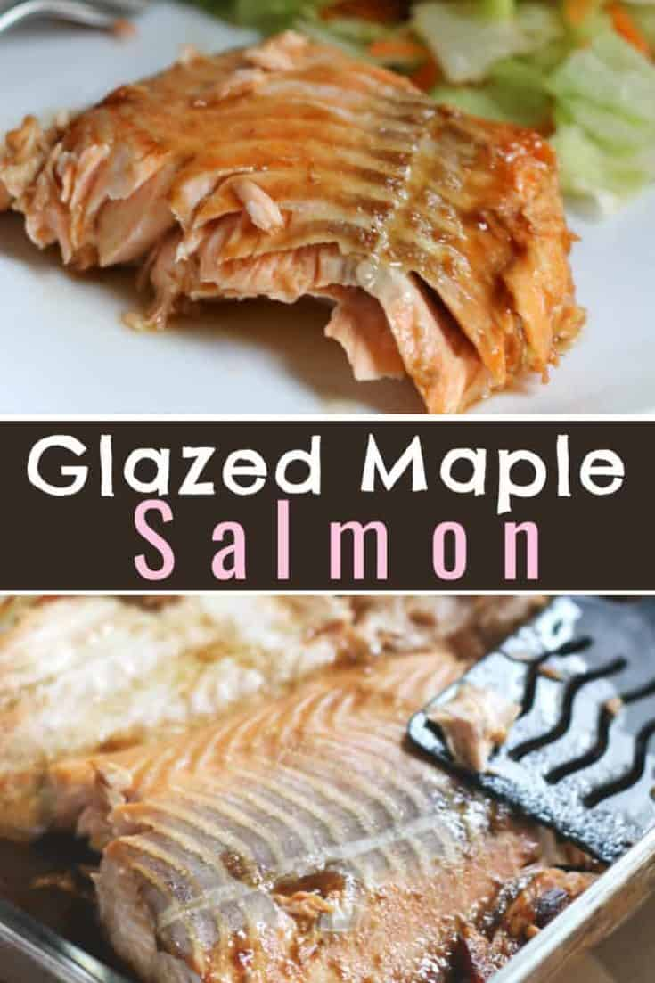 Glazed Maple Salmon - marinate the filets with maple syrup and soy sauce for only 30 minutes and baked until it flakes. Simple and easy recipe #salmon #maplesalmon #fishrecipe