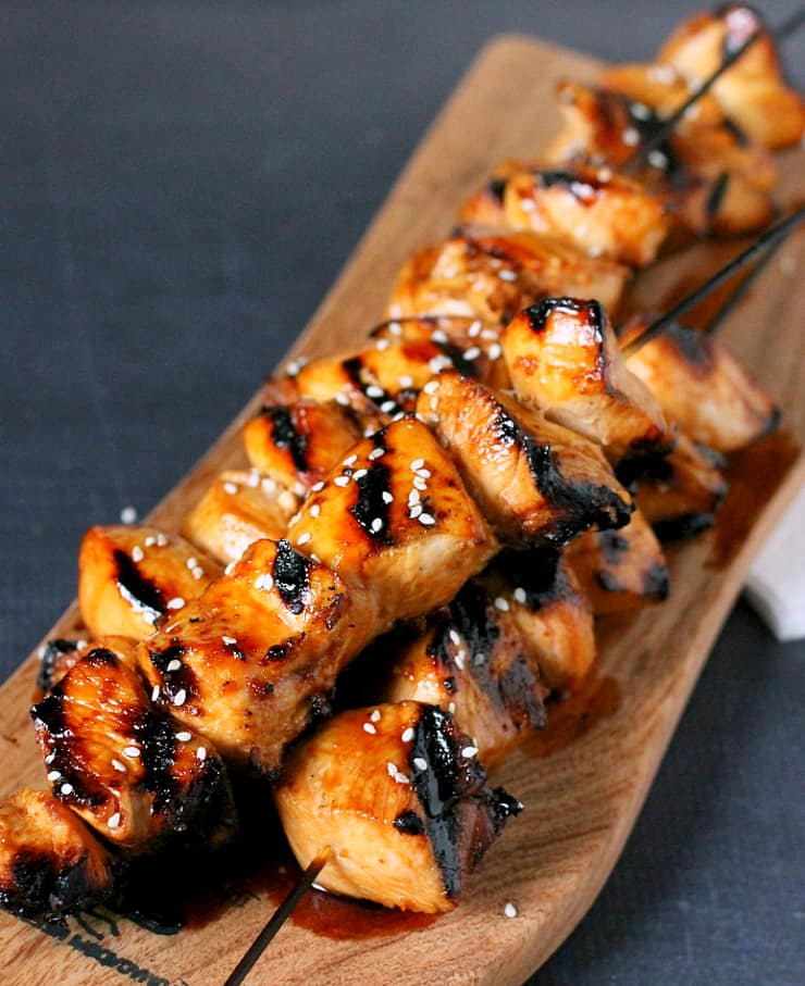This Honey Sriracha Grilled Chicken Skewers recipe is 'sweet, mildly sour with a bit of a kick'!