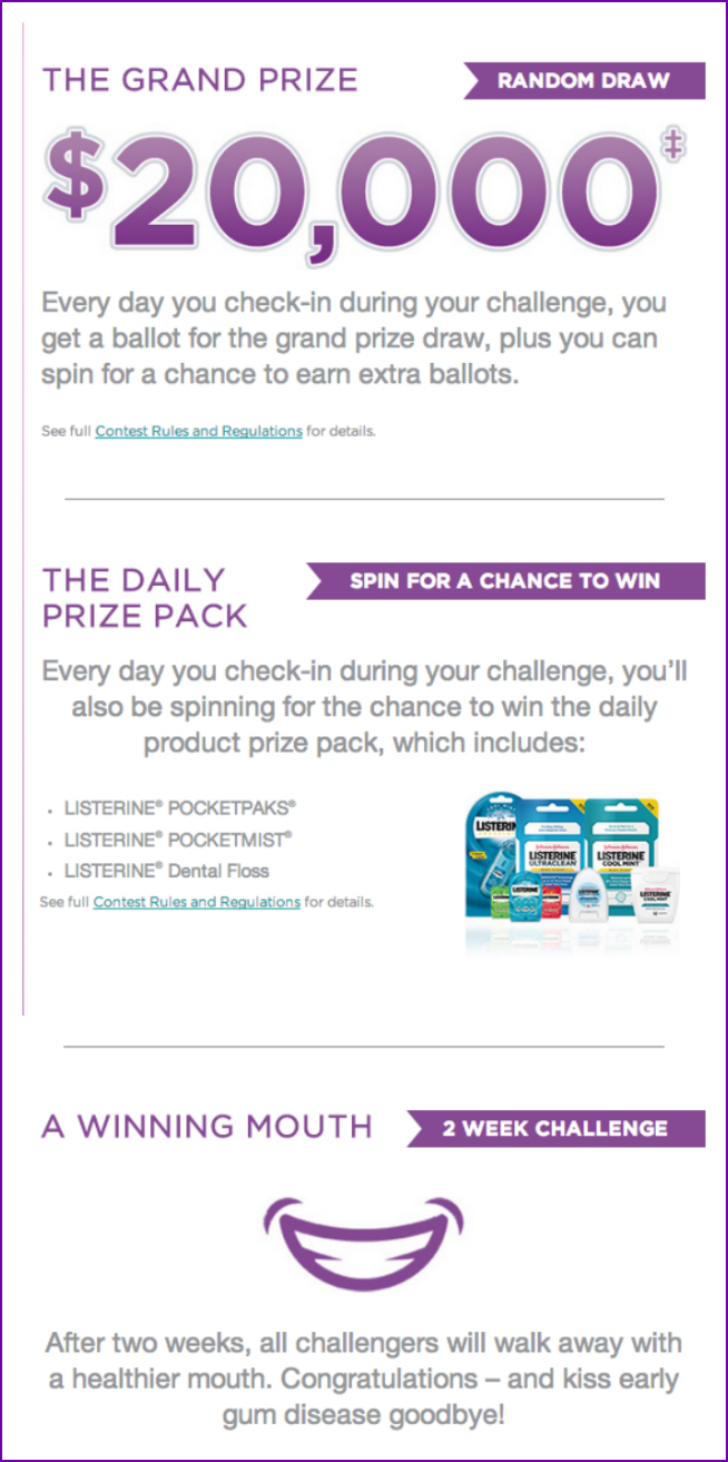 listerine challenge prizes canada