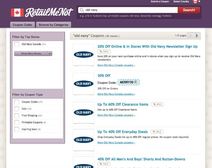 Saving Big at RetailMeNot.ca