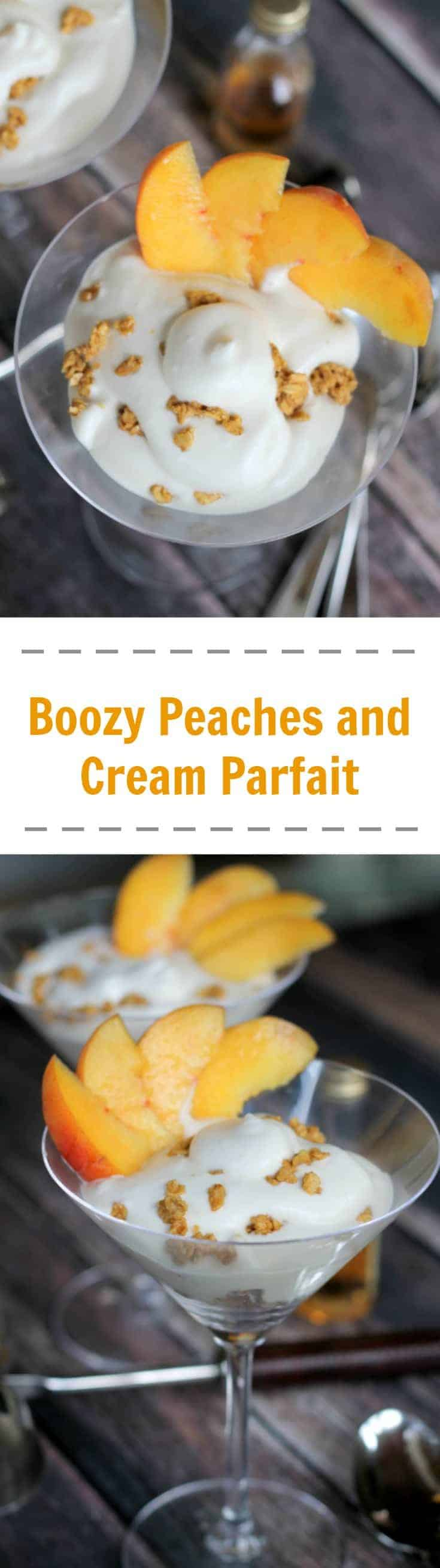 Boozy Peaches and Cream Parfait is the ideal indulgence after a meal, and with that kick of bourbon or whiskey - this is a great boozy dessert for adults. #parfait #parfaitrecipe #alcoholdessert