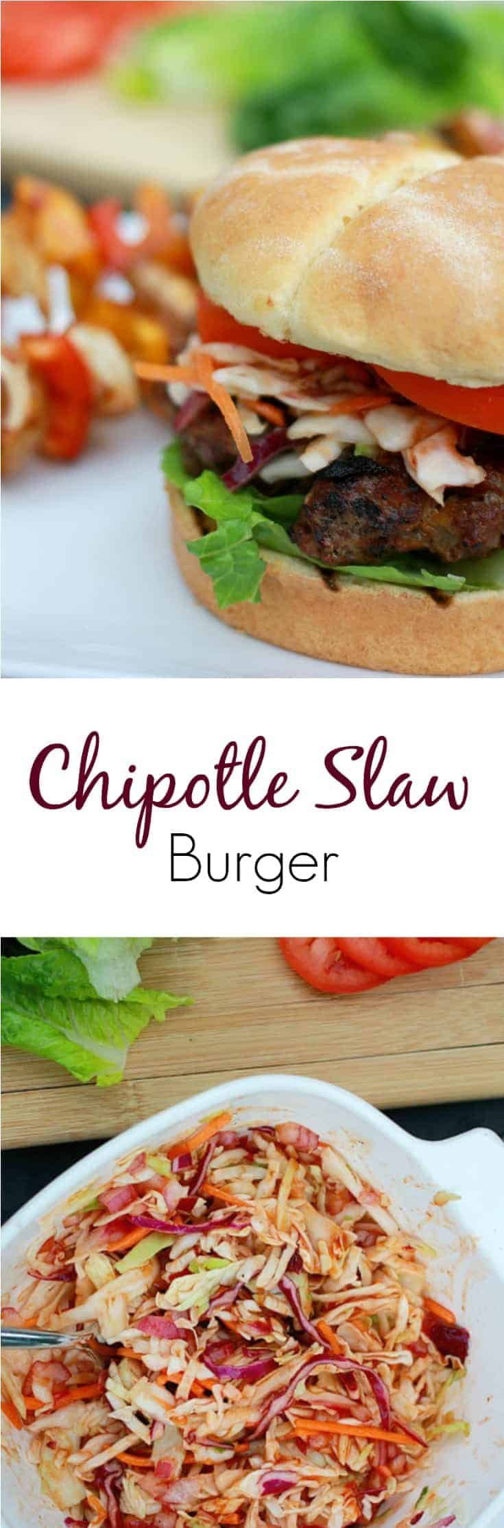 Making burgers better with this delicious recipe for a Chipotle Slaw Burger. You'll love the combined taste! #burger #burgerrecipe