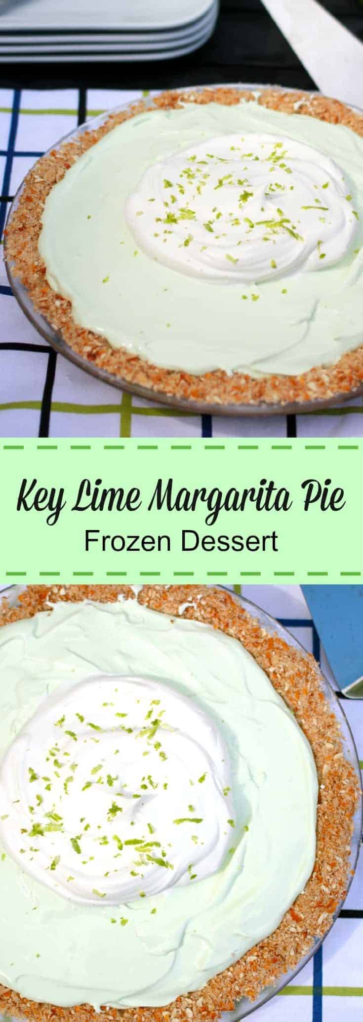 Key Lime Margarita Pie is the ideal easy summer {frozen} dessert. Simple to make and tastes just like lime ice cream, without the excess calories. #keylimepie #keylime #pierecipe