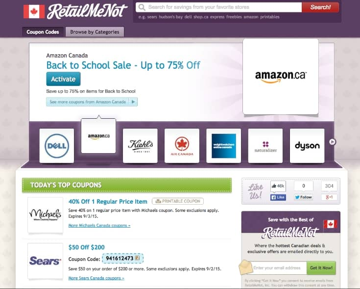 Back to School Shopping saving RetailMeNot canada