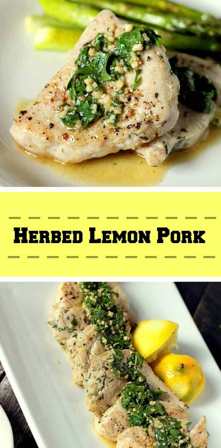 Herbed Lemon Pork is a quick and easy recipe with few ingredients that is made in the skillet, and the taste is outstanding. #pork #porkrecipe #lemonpork
