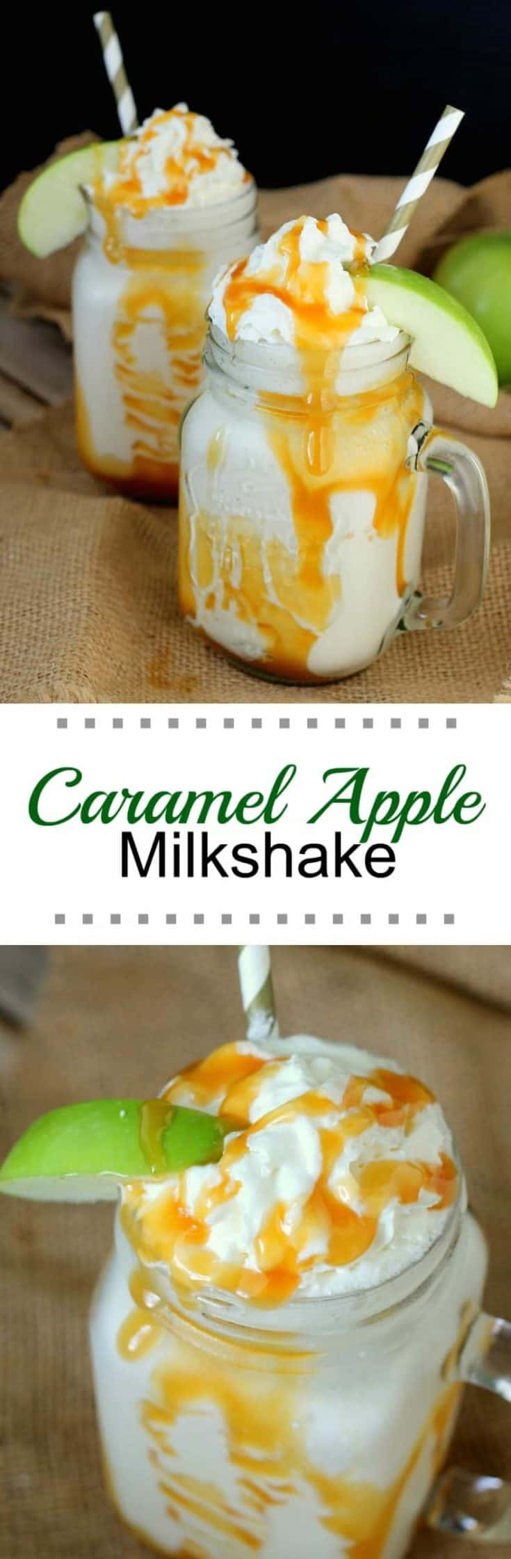 This Caramel Apple Milkshake is perfect for fall season and for fulfilling the need for total comfort food ... milkshakes are so very comforting! #milkshake #milkshakerecipe #caramelapple