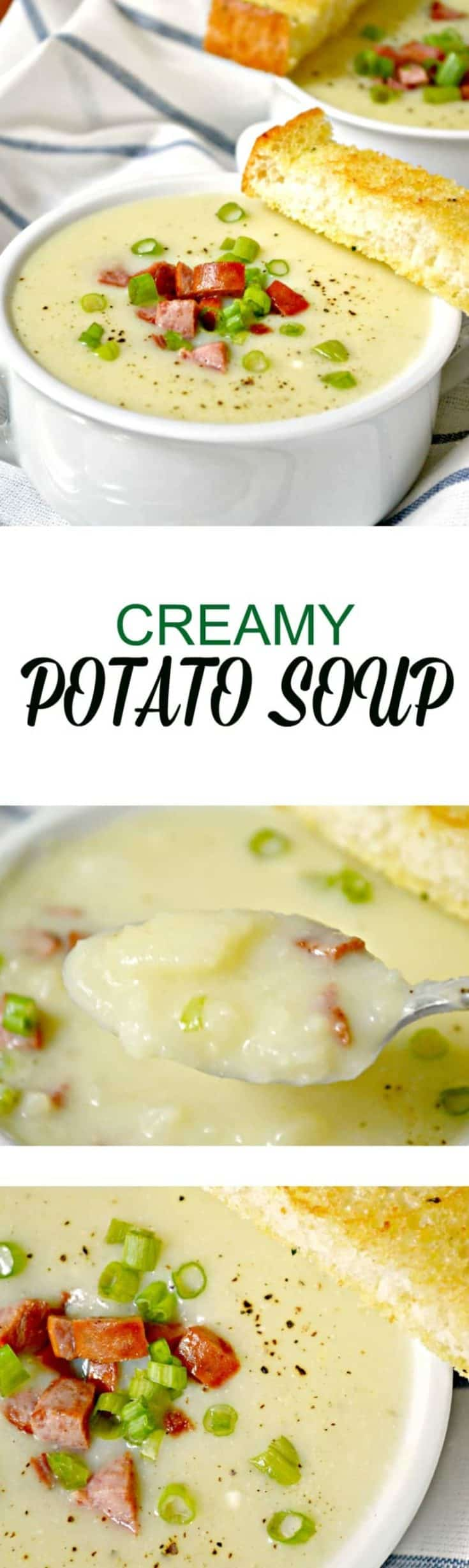 Creamy Potato Soup is guaranteed to warm you up from the inside, out. It has a rich and creamy taste thanks to the addition of cream cheese. #potatosoup #soup #souprecipe
