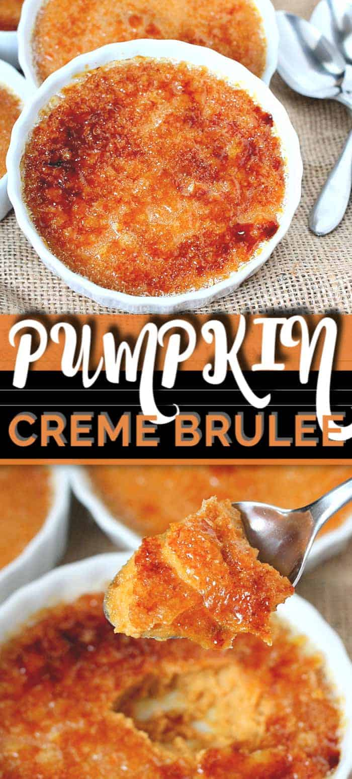 This PUMPKIN CREME BRULEE recipe is a delicious seasonal spin on a classic recipe that is oh-so perfect for this season. Surprisingly easy for such a fancy dessert! Pumpkin all the things! #cremebrulee #cremebruleerecipe #pumpkin #pumpkinrecipes