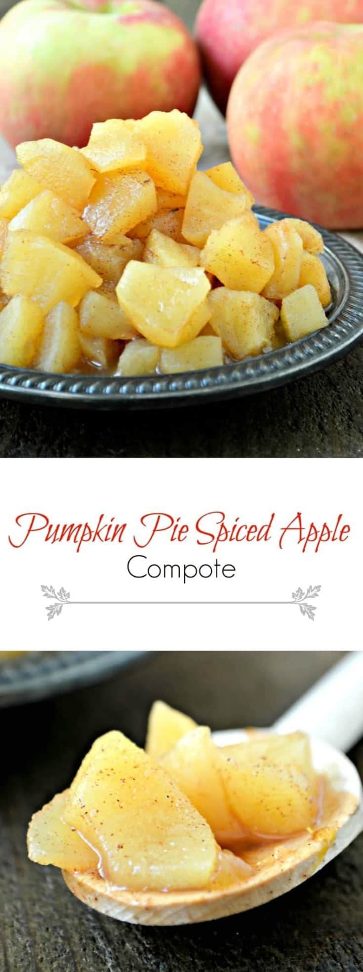 Pumpkin Pie Spiced Apple Compote is best served warm over ice cream, oatmeal, and/or yogurt. It's an easy mixture that you can reach for so often. #compote #applecompote