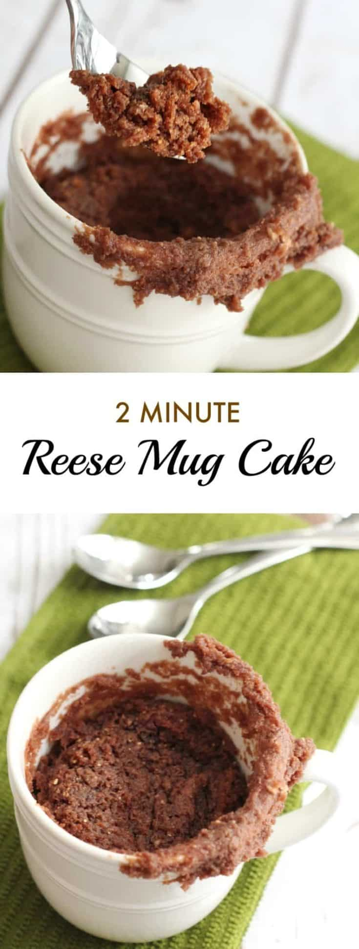 Reese Mug Cake recipe is made with Reese Spread, a perfect quick and easy minute mug cake dessert with an epic chocolate and peanut butter flavour. #mugcake #cakerecipe #easycake
