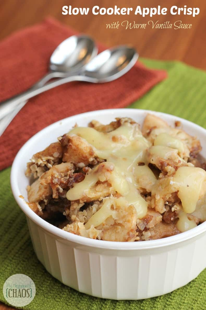 slow cooker apple crisp with vanilla sauce