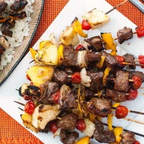 Asian Beef kabobs marinated skewer