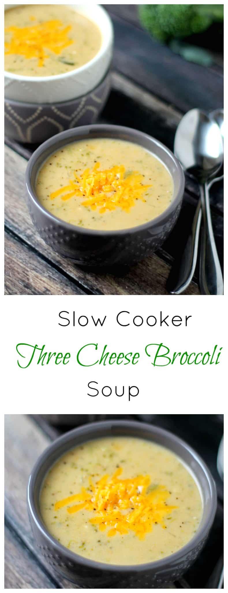 Three Cheese Broccoli Soup Slow Cooker recipe