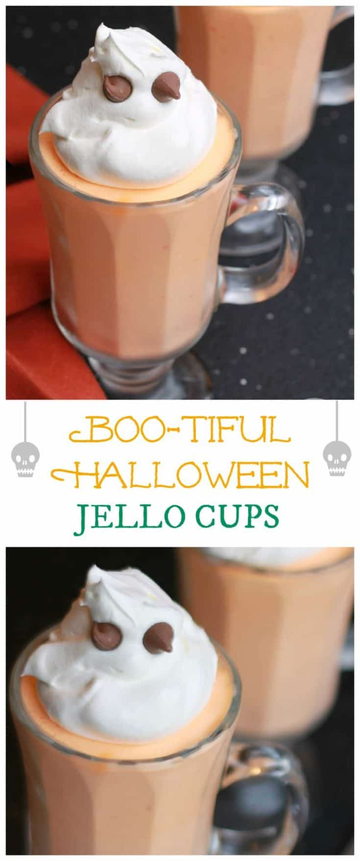 This Boo-tiful Halloween JELLO Cups recipe is so very simple to make, with a cute ghost theme. The perfect treat for a Halloween party #halloweentreat #halloween #jellocups