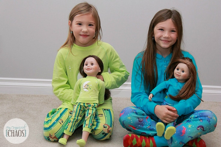 Maplelea doll and girl matching pajamas