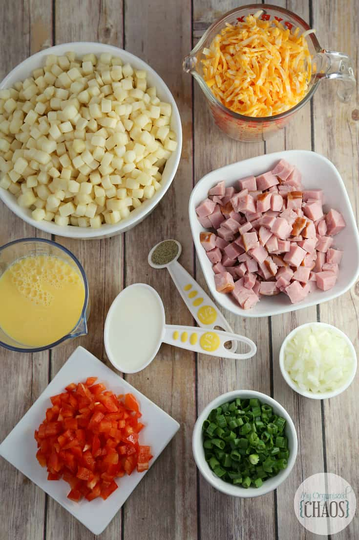 Cheesy Ham Breakfast Casserole Ingredients
