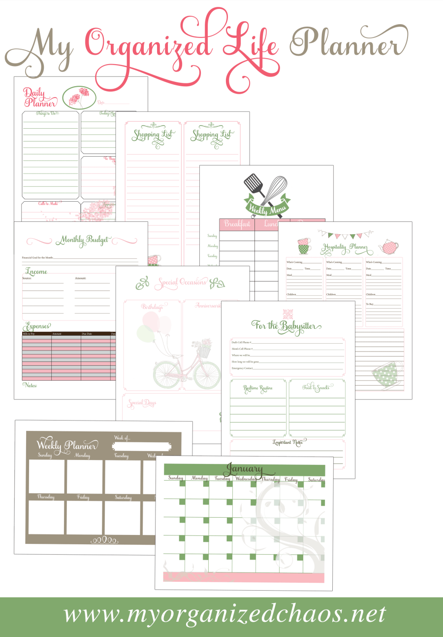 My Organized Life Printable Planner My Organized Chaos - Organization printables