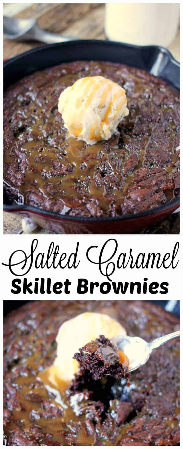 These SALTED CARAMEL SKILLET BROWNIES are sweet and salty, crisp and soft, warm and cold. Opposing tastes and textures truly make this epic dessert recipe. #saltedcaramel #skilletbrownies #brownies #brownierecipe