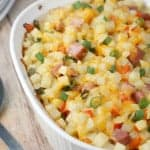 cheesy ham egg casserole breakfast brunch recipe