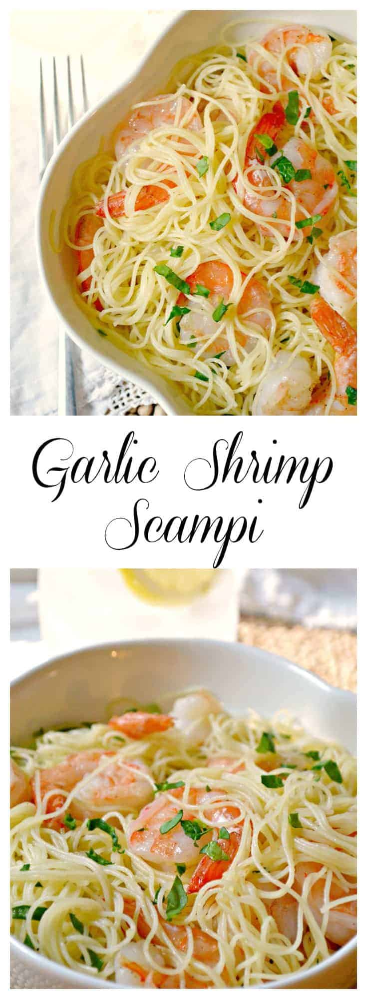 Garlic Shrimp Scampi recipe - simple to make, and takes little time as well - great for the days when the schedule is bursting with activities. #shrimprecipe #scampi #shrimppasta