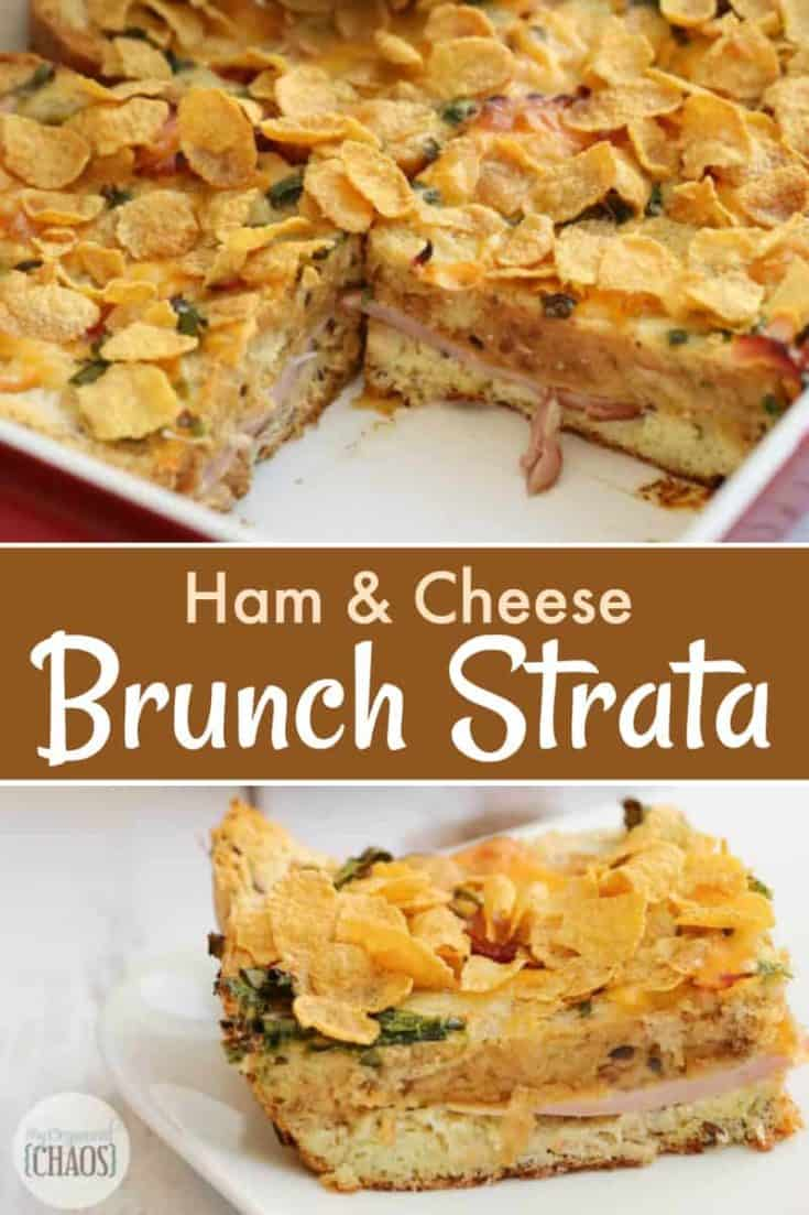 Ham & Cheese Brunch Strata is an easy breakfast recipe layered with bread, eggs, green onions and more. It's like the ultimate grilled cheese sandwich!  #brunch #breakfast #brunchrecipe #strata