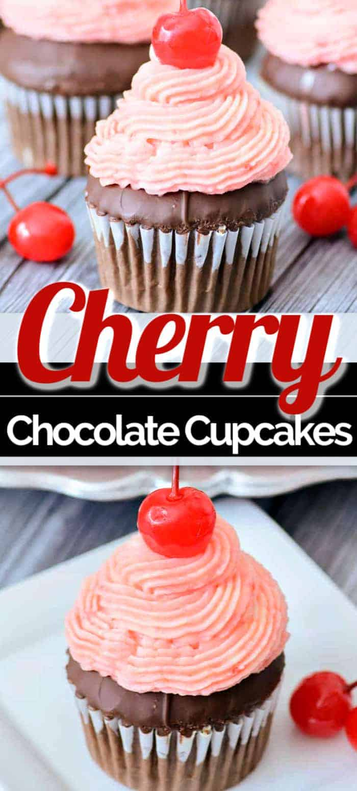 chocolate cupcakes with a cherry on top on a white plate