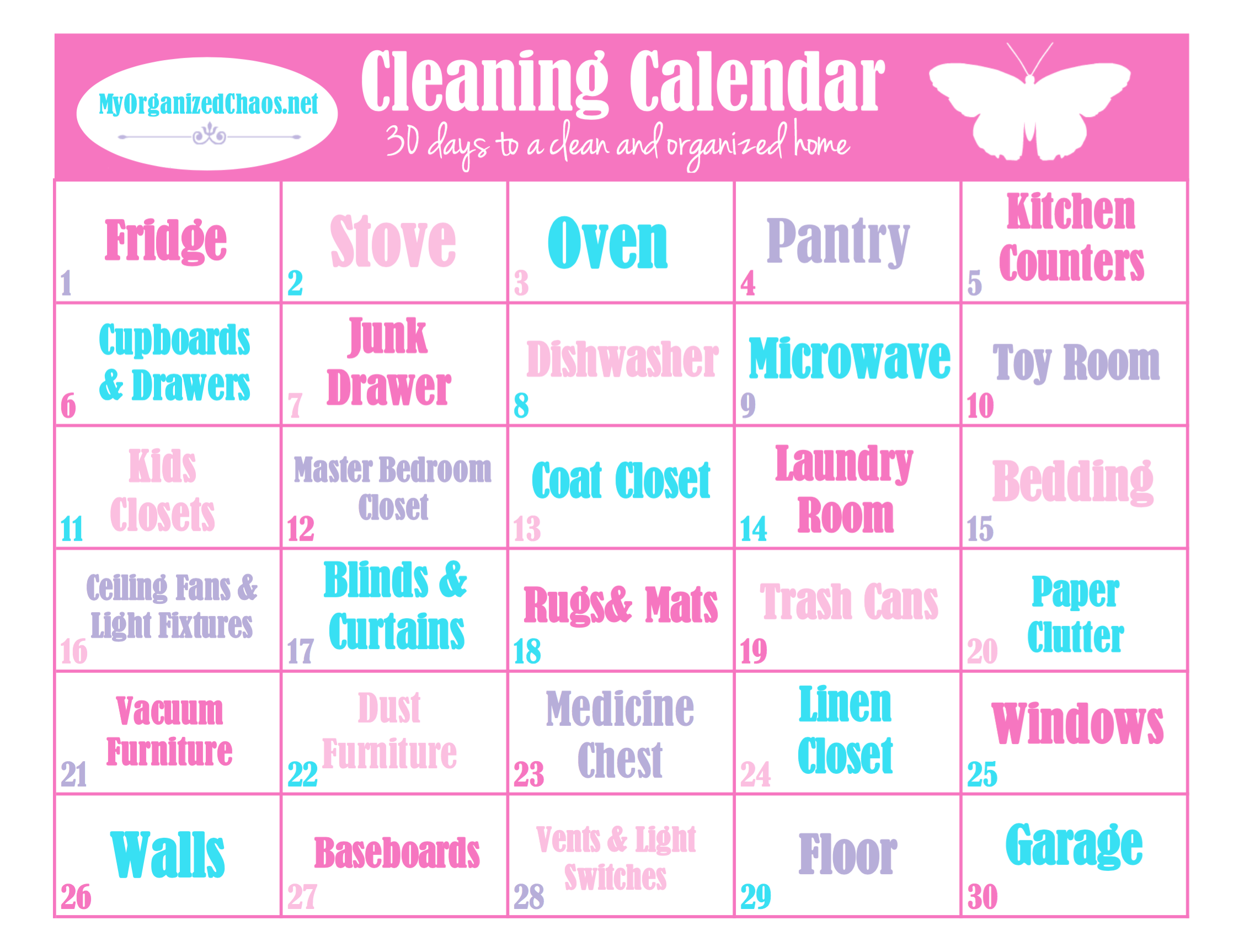 daily cleaning printable calendar