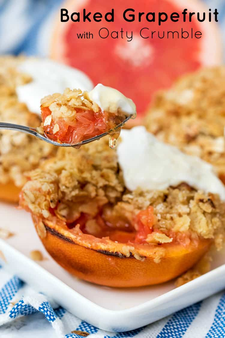 Baked Grapefruit with oaty crumble
