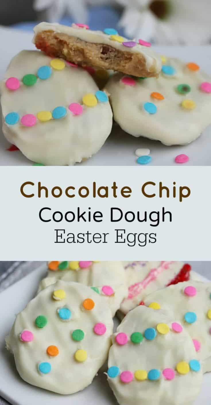 Chocolate Chip Cookie Dough Easter Eggs is a fun recipe to make, and a very simple and easy no-bake recipe. FINALLY we're encouraged to eat the cookie dough! #cookiedough #cookiedoughcookies #cookie #cookierecipe