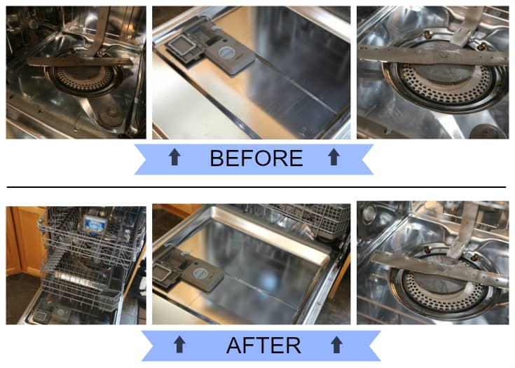 finish dishwasher cleaner before and after