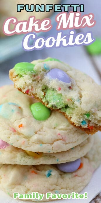 funfetti cake mix cookies with text