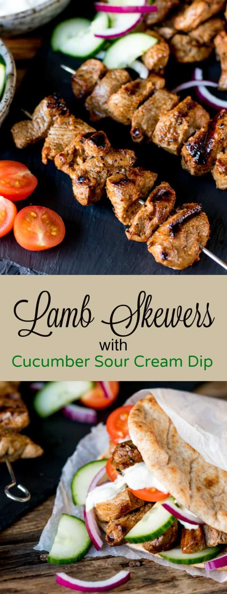 This recipe for Lamb Skewers with Cucumber Sour Cream Dip is juicy lamb skewers packed full of spicy garlic Cajun flavour, grilled until lightly charred and served with a cool sour cream dip, the dip is a take on Tzatziki #skewers #kabobs #lambskewers #tzatziki