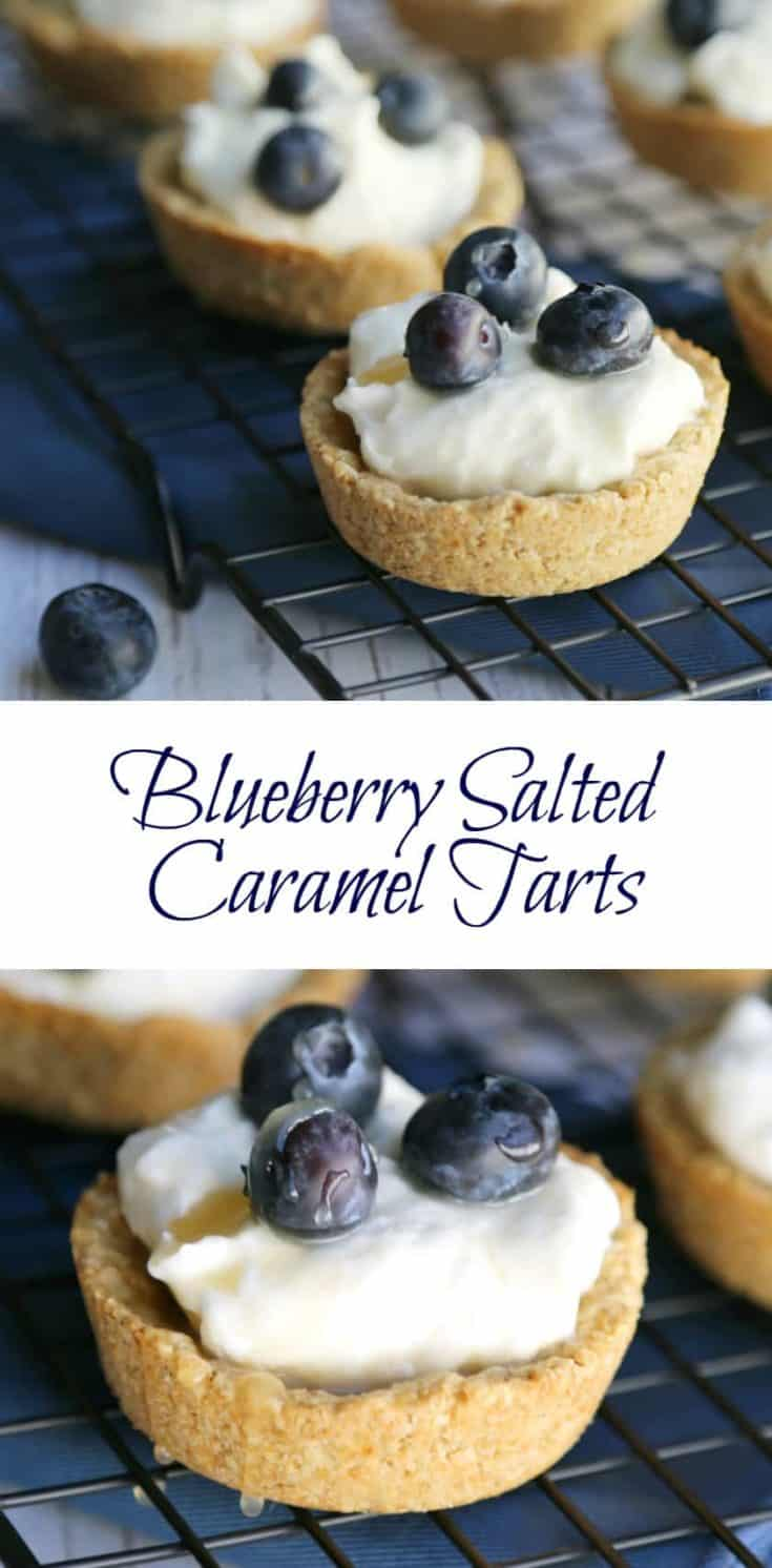 This delicious Blueberry Salted Caramel Tarts recipe has a unique tart shell which its made from oats. Plus the sweet center and fresh blueberries can't be beat. #tarts #tartsrecipe #blueberrytarts #saltedcaramel