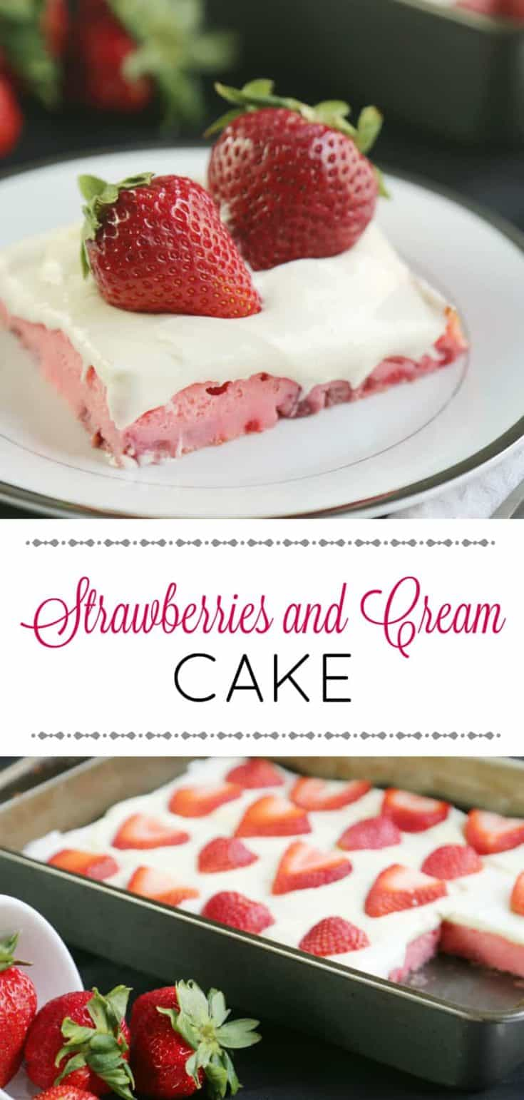 Strawberries and Cream Cake has a cream cheese frosting that everyone will love. A perfect dessert recipe for spring, to use those available fresh berries. #cakerecipe #cake #strawberrycake