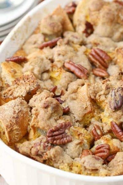 Pecan Pumpkin Pie French Toast Casserole
