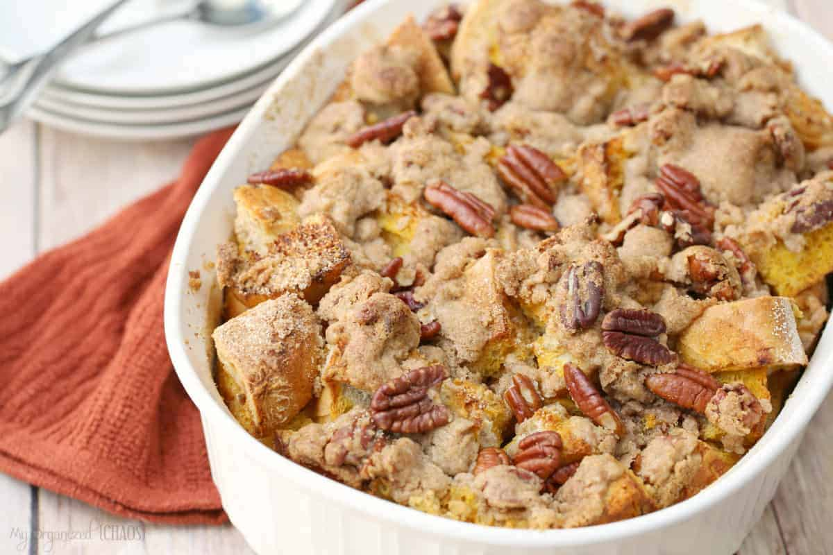 easy overnight Pecan Pumpkin Pie French Toast Casserole