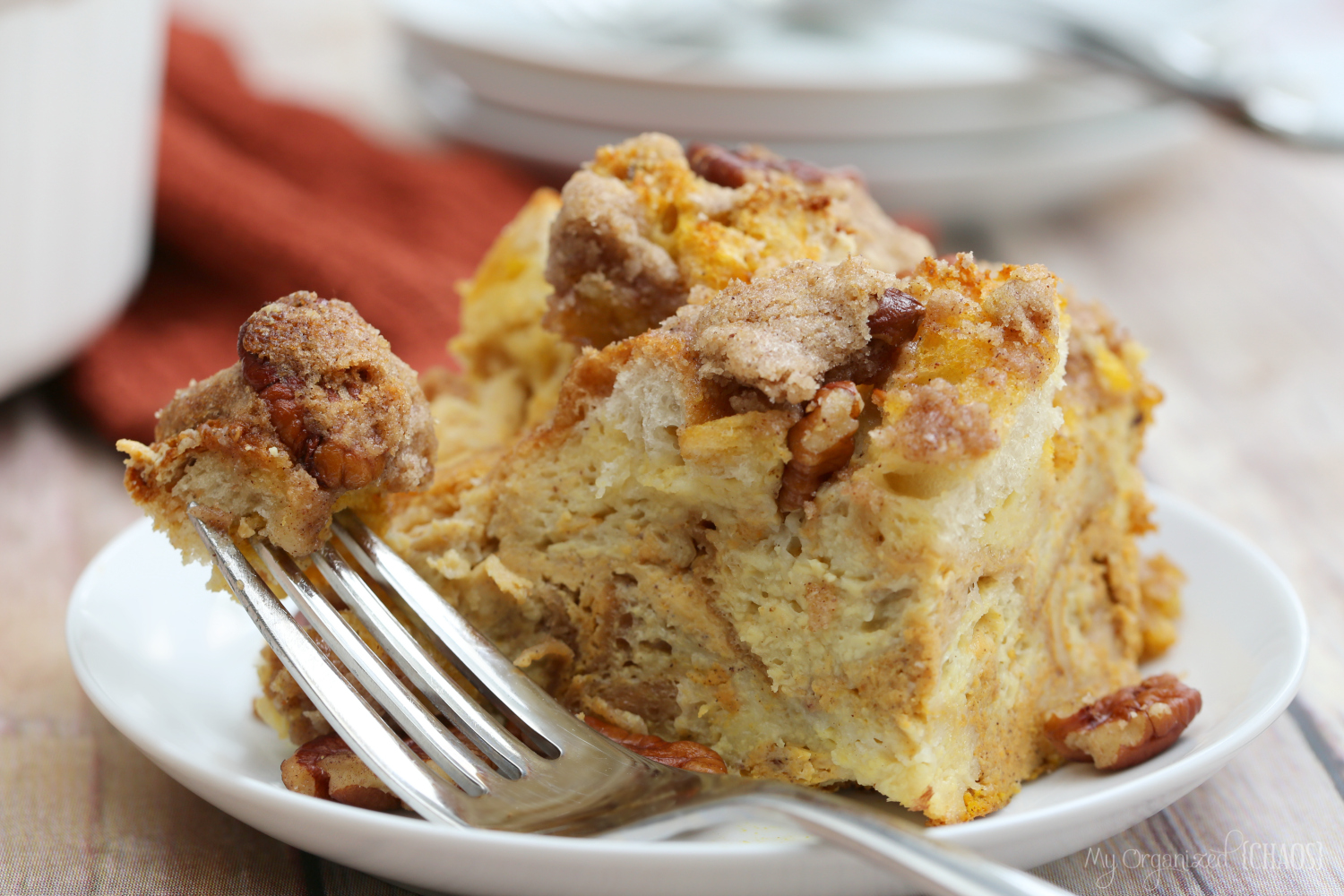 Pecan Pumpkin Pie French Toast Casserole