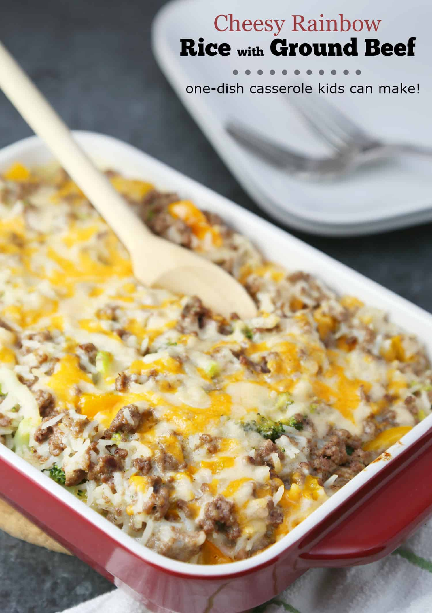 Cheesy Rainbow Rice with Ground BeefCheesy Rainbow Rice with Ground Beef