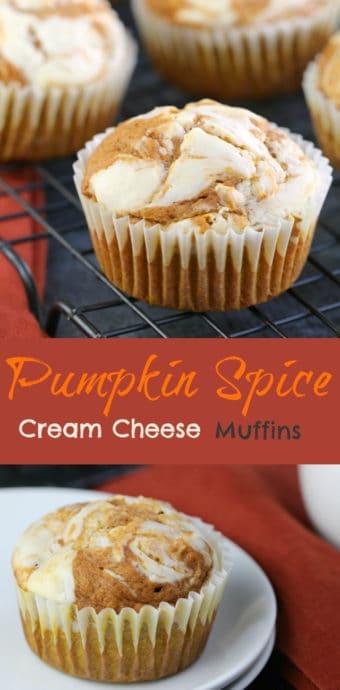 Pumpkin Spice Cream Cheese Muffins - a moist pumpkin cake, swirled with an epic cream cheese filling