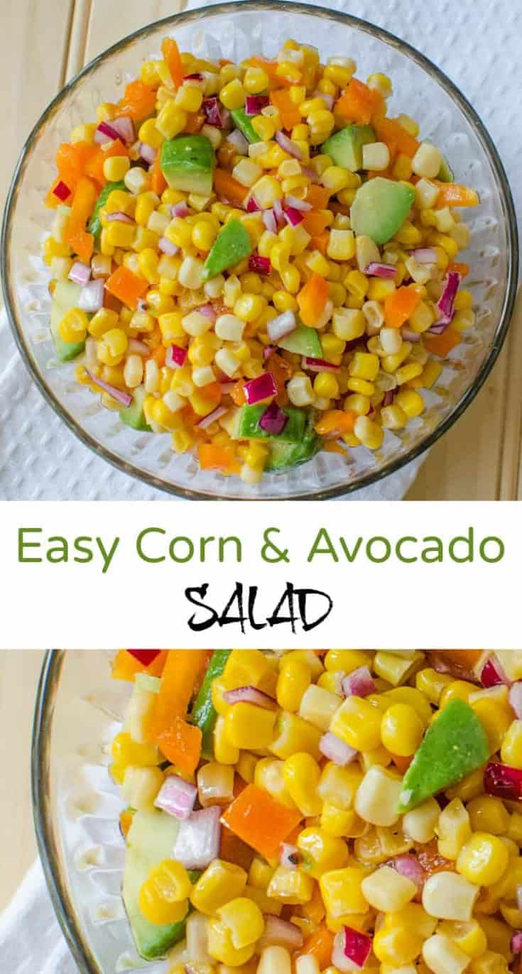 Easy Corn and Avocado Salad with corn, avocado, red onion, sweet bell pepper and a dressing of oil and white wine vinegar - flavours blend so nicely #salad #saladrecipe