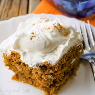 Pumpkin Spice Poke Cake with cream cheese icing - a great fall cake recipe