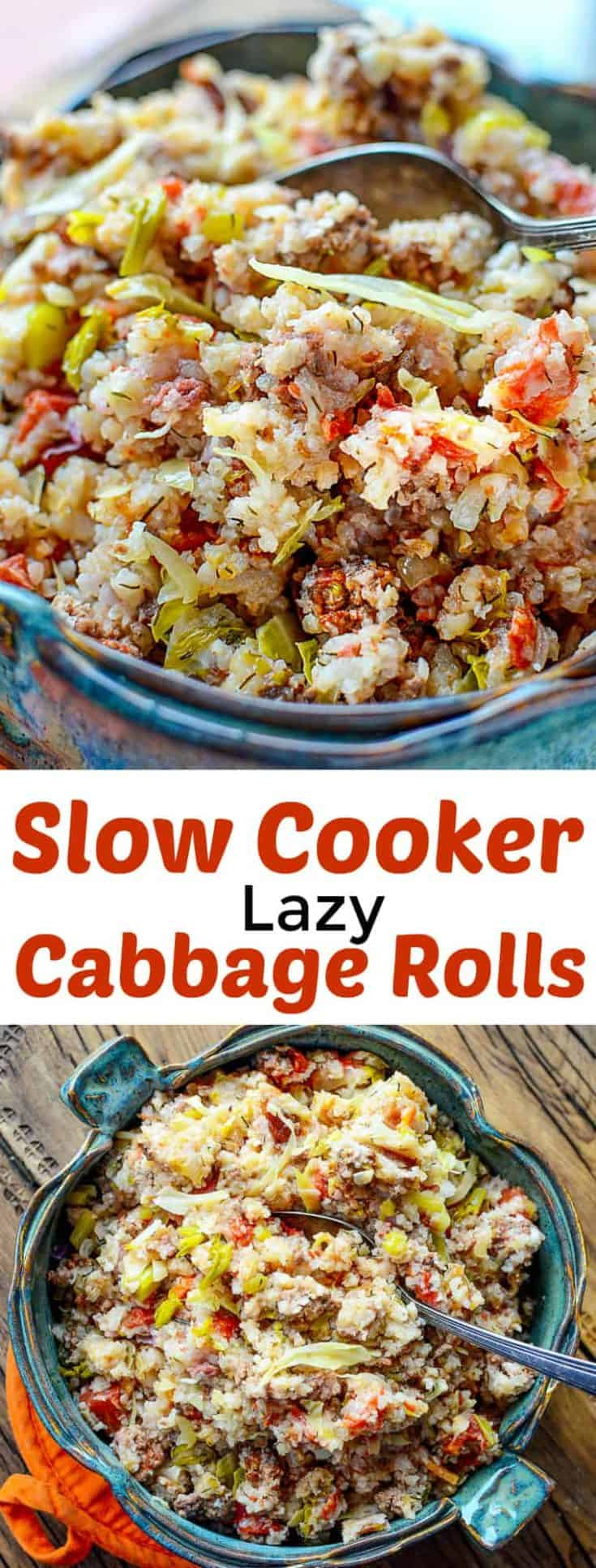 Slow Cooker Lazy Cabbage Rolls have all the taste but with the ease of the crockpot. you can serve this as a side dish along with some garlic sausage, or eat as it on its own. #slowcooker #cabbagerolls #crockpot